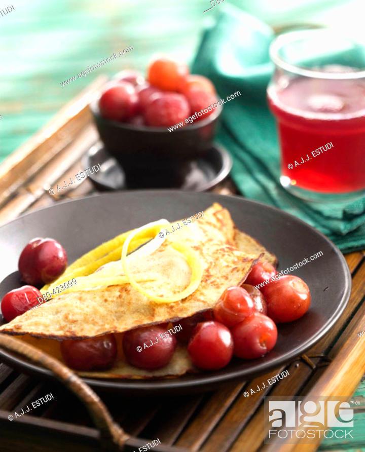 Stock Photo: Cherry pancakes.