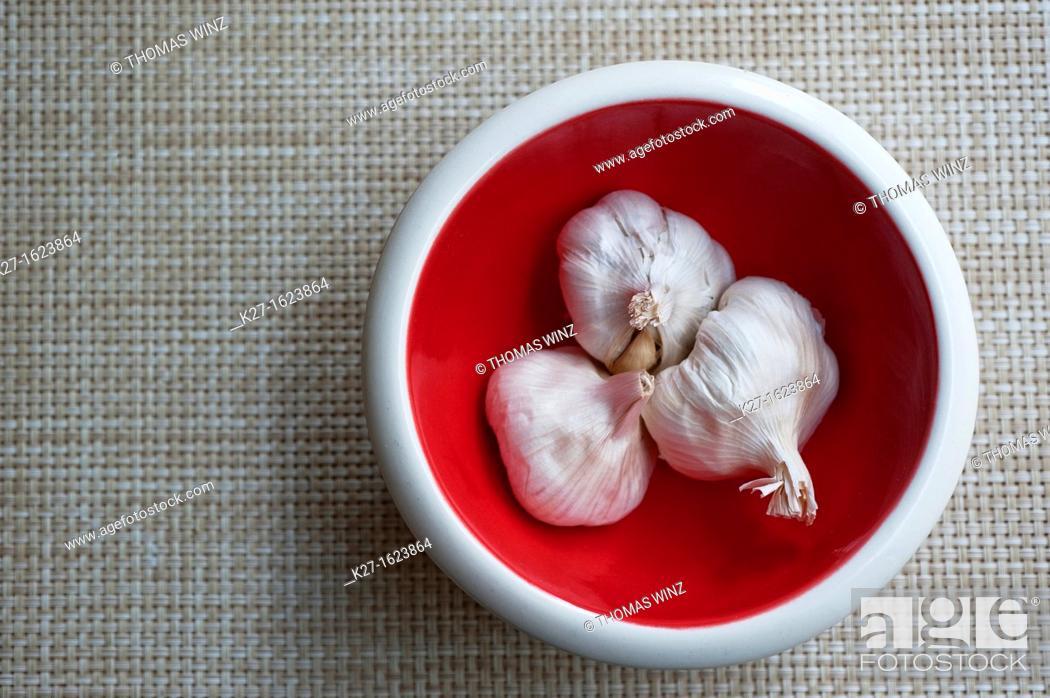 Stock Photo: Garlic in a bowl.