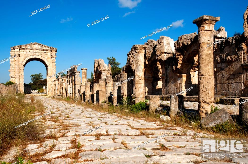 Stock Photo: Colonnaded street and the Roman Triumphal Arch, Al Bass site , Tyre Sour, UNESCO World Heritage Site  Lebanon.