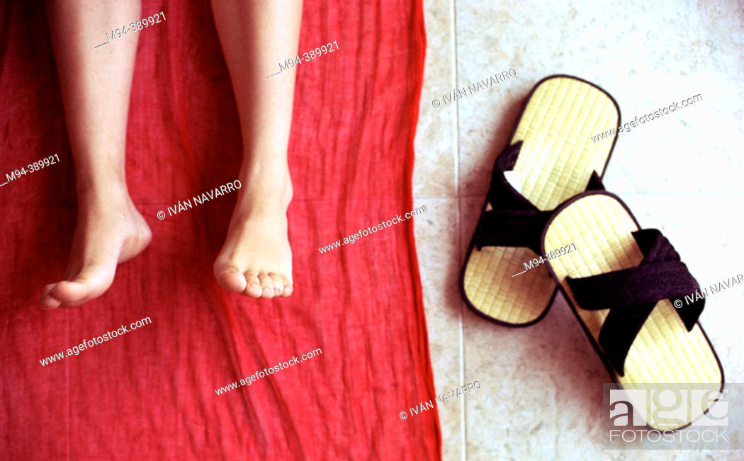 Stock Photo: Feet and Japanese sandals.