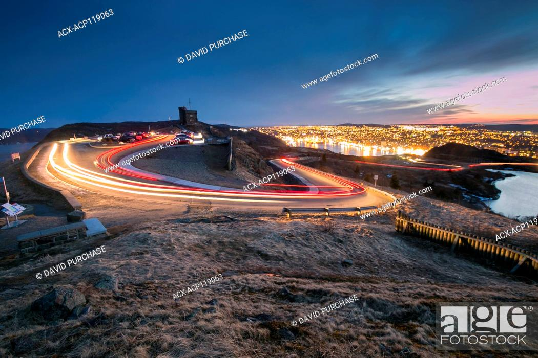 Stock Photo: long exposure light trails at Cabot Tower, Signal Hill National Historic Site, St. Johns, Newfoundland and Labrador.