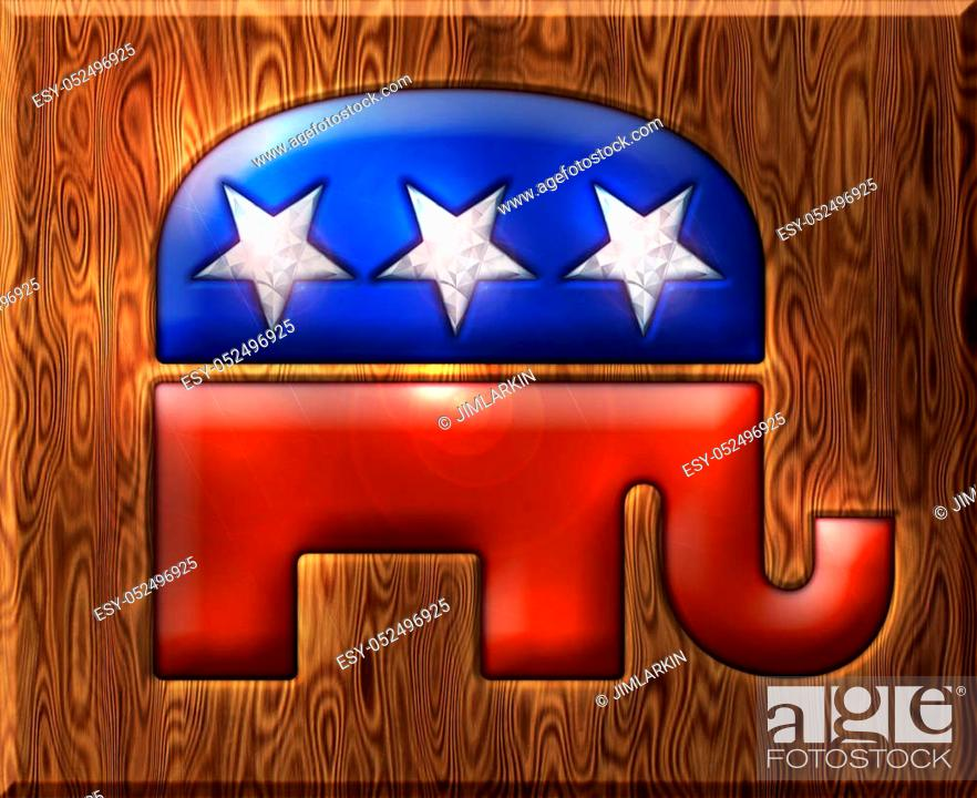 Stock Photo: 3D Republican elephant symbol inlaid with diamond stars and embedded in a wooden base.