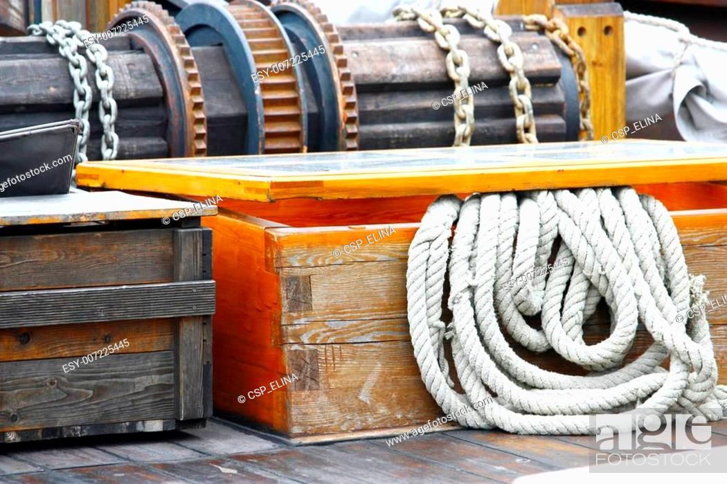 Stock Photo: Rope on deck.