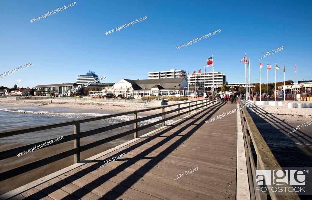 Stock Photo: Pier, Groemitz, Schleswig-Holstein, Germany.