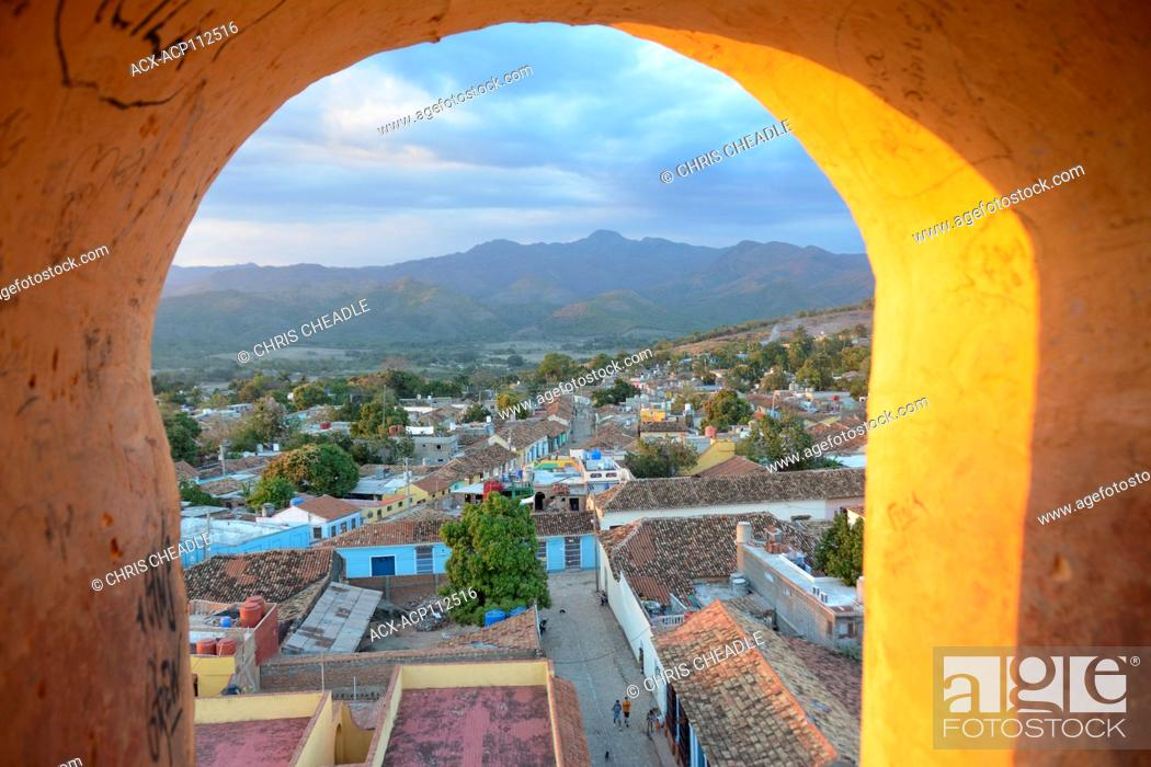 Stock Photo: View from the the opening of the tower at Iglesia y Convento de San Francisco, Trinidad, Cuba.