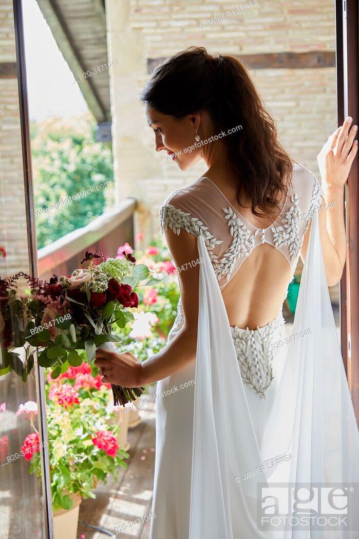 Stock Photo: Bride, Wedding dress, Event in rural house, Hondarribia, Gipuzkoa, Spain.