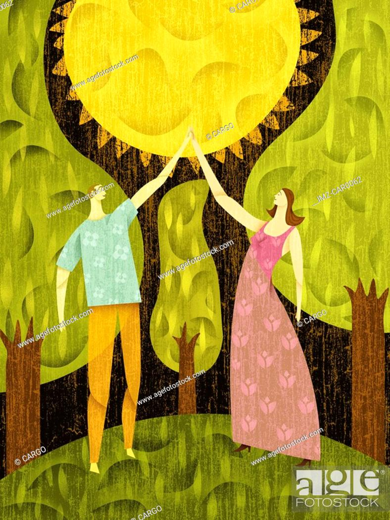 Stock Photo: Couple in a forest, touching the sun.