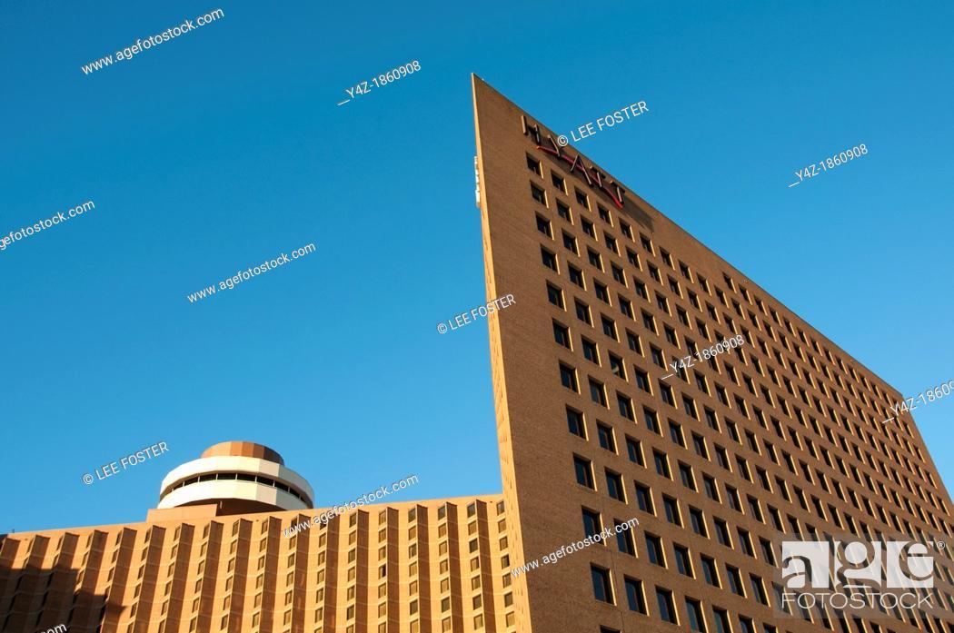 Stock Photo: USA, Indiana, Hyatt Hotel chain on Indianapolis skyline.