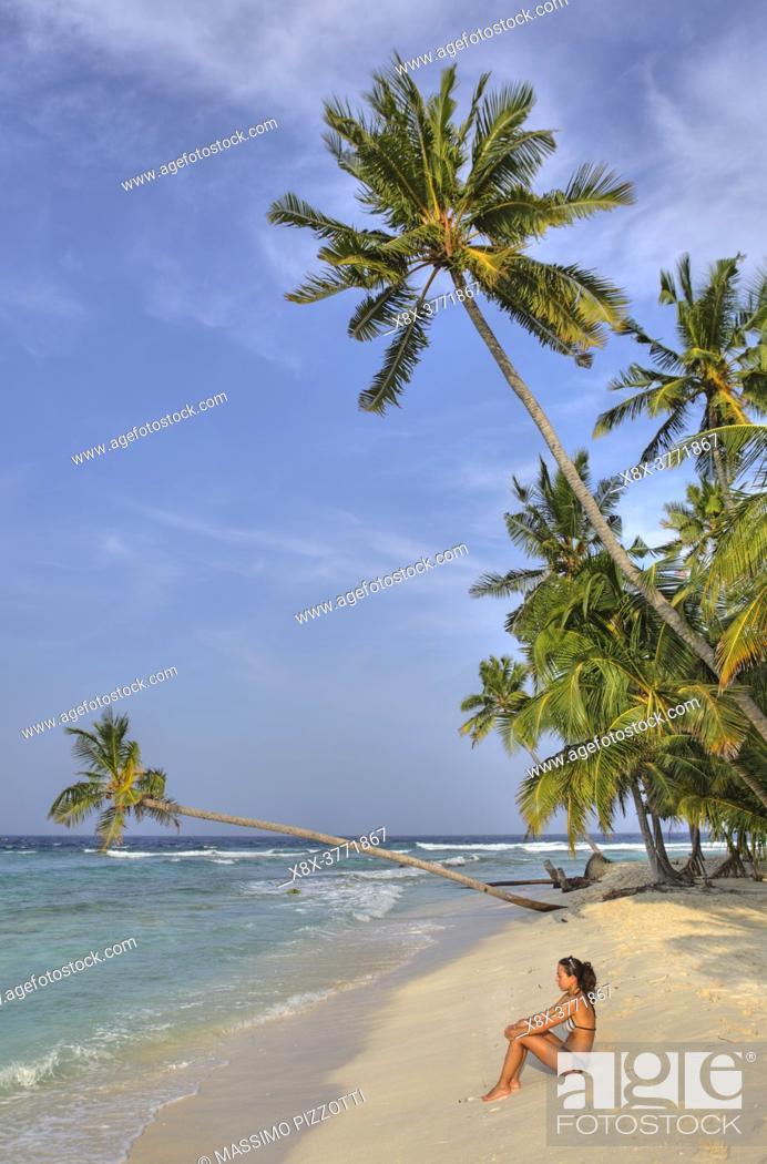 Stock Photo: Palm trees on the beach, Filitheyo island, Maldives.
