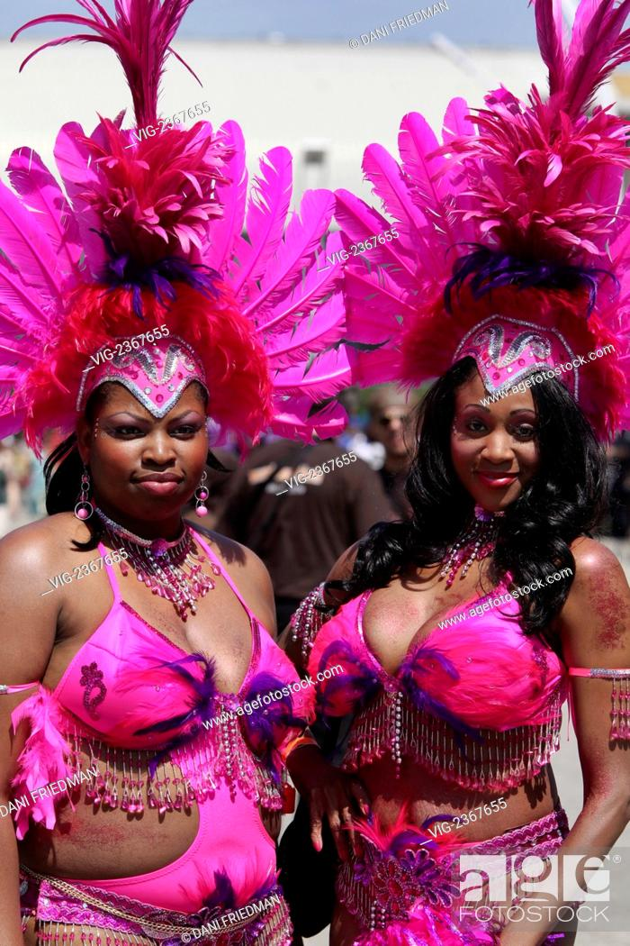 A performer wearing a carnival costume at the Caribana Festival and