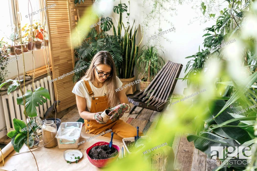 Imagen: Young woman working with soil in a small gardening shop.