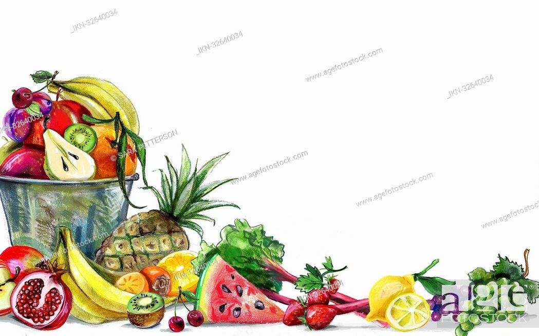 Imagen: Variation of fresh fruit and white background.