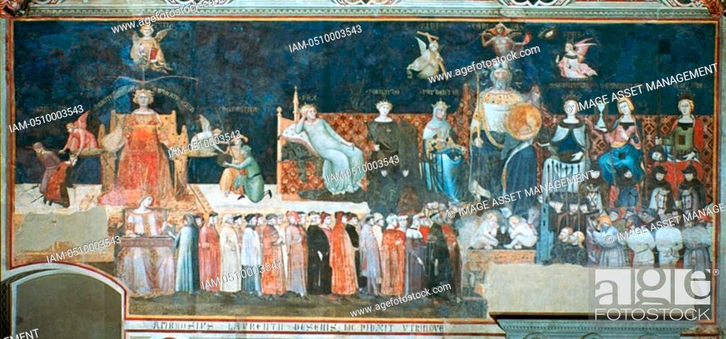 Sala Dei Nove Good Government.Ambrogio Lorenzetti Allegory Of The Good Government 1338