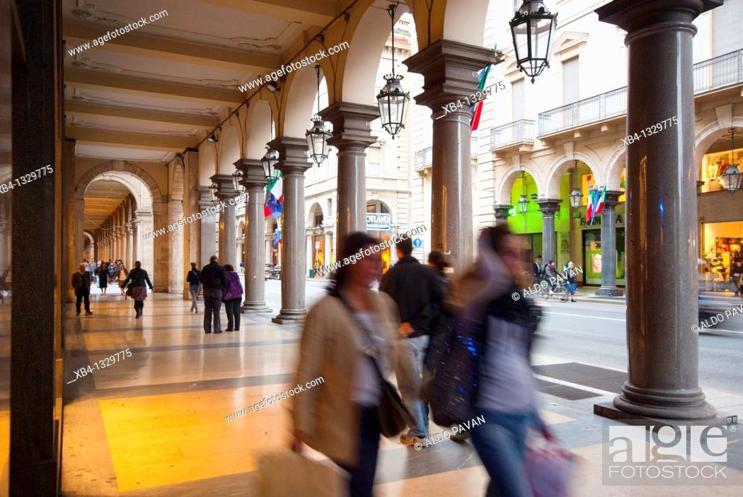 Stock Photo: Via Roma, Turin, Piedmont, Italy.