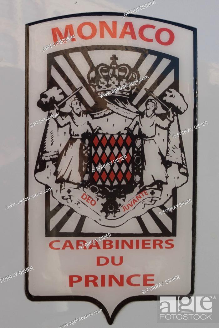 Ecusson des carabiniers du prince sur une voiture officielle monte carlo paradis fiscal stock - Ecusson monaco ...