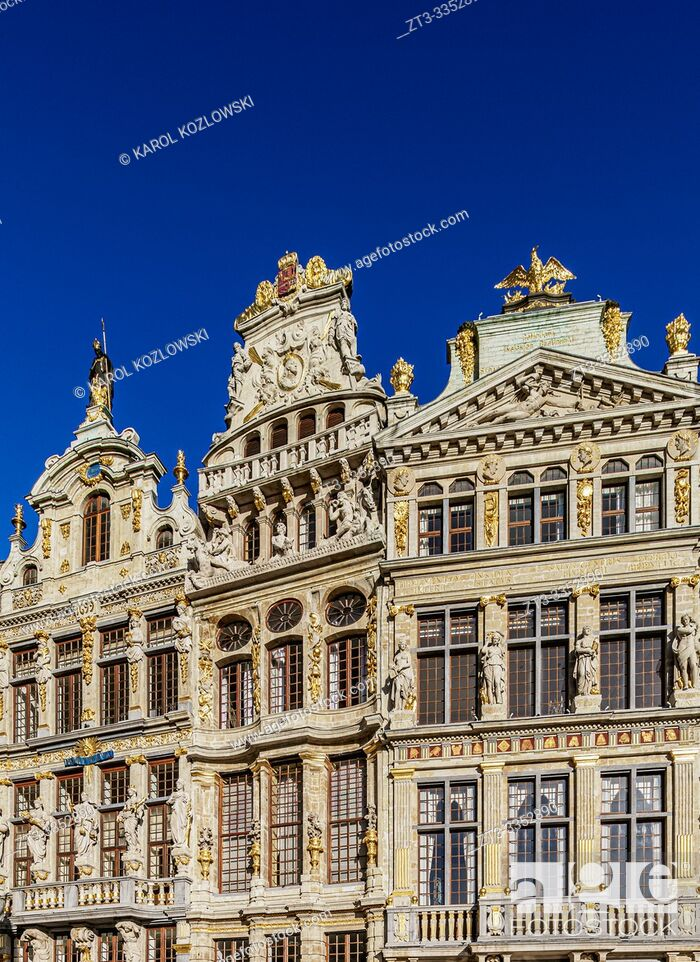 Stock Photo: Houses at Grand Place, UNESCO World Heritage Site, Brussels, Belgium.