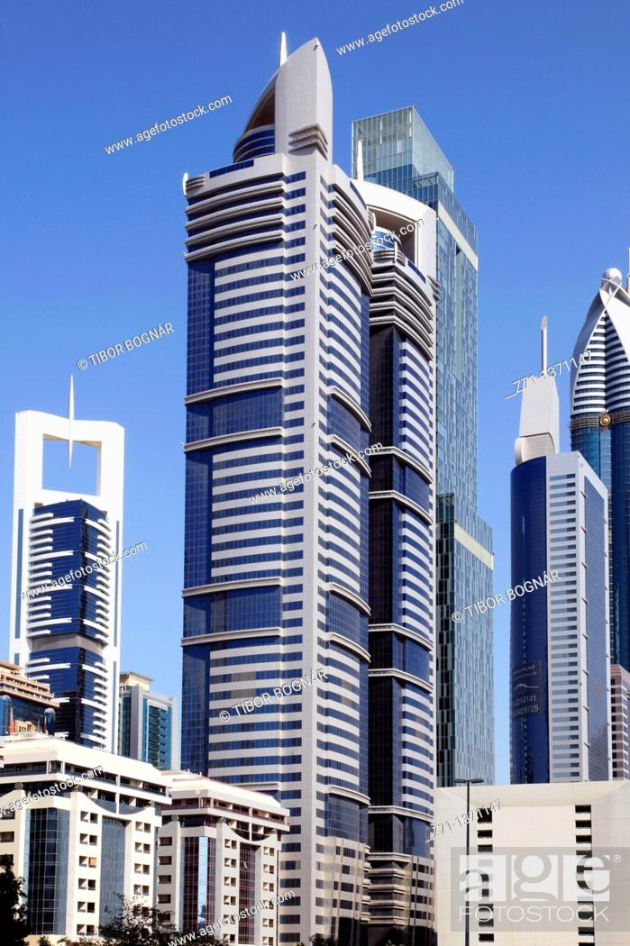 Stock Photo: United Arab Emirates, Dubai, Sheikh Zayed Road, skyscrapers,.