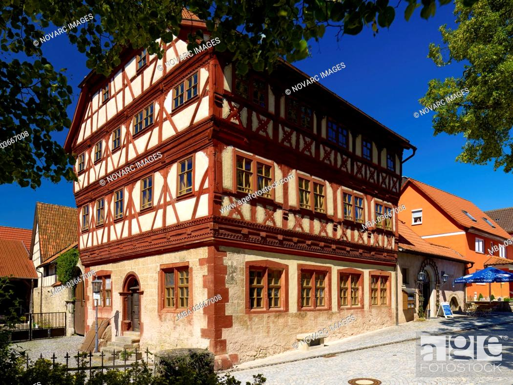 "Stock Photo: Town hall with Centstuben in Stockheim, Rh""n-Grabfeld, Lower Franconia, Bavaria, Germany,."