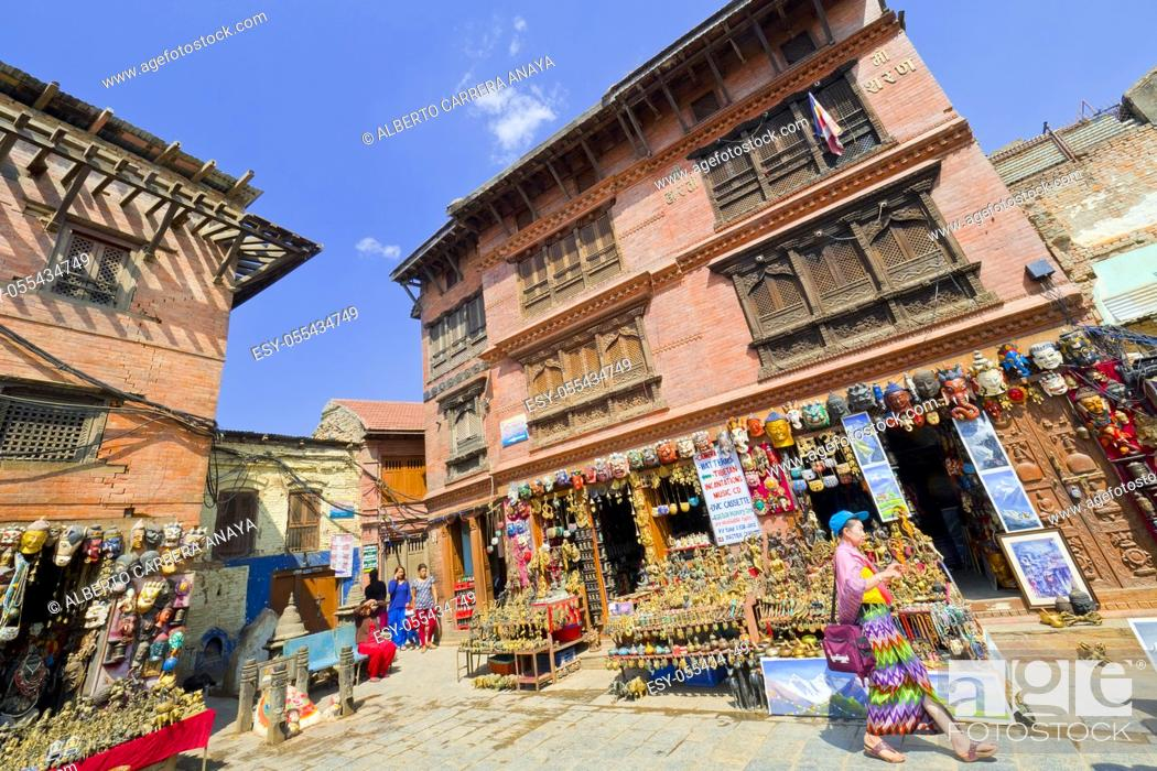 Stock Photo: Swayambhunath Temple, Monkey Temple, UNESCO World Heritage Siite, Kathmandu, Nepal, Asia.