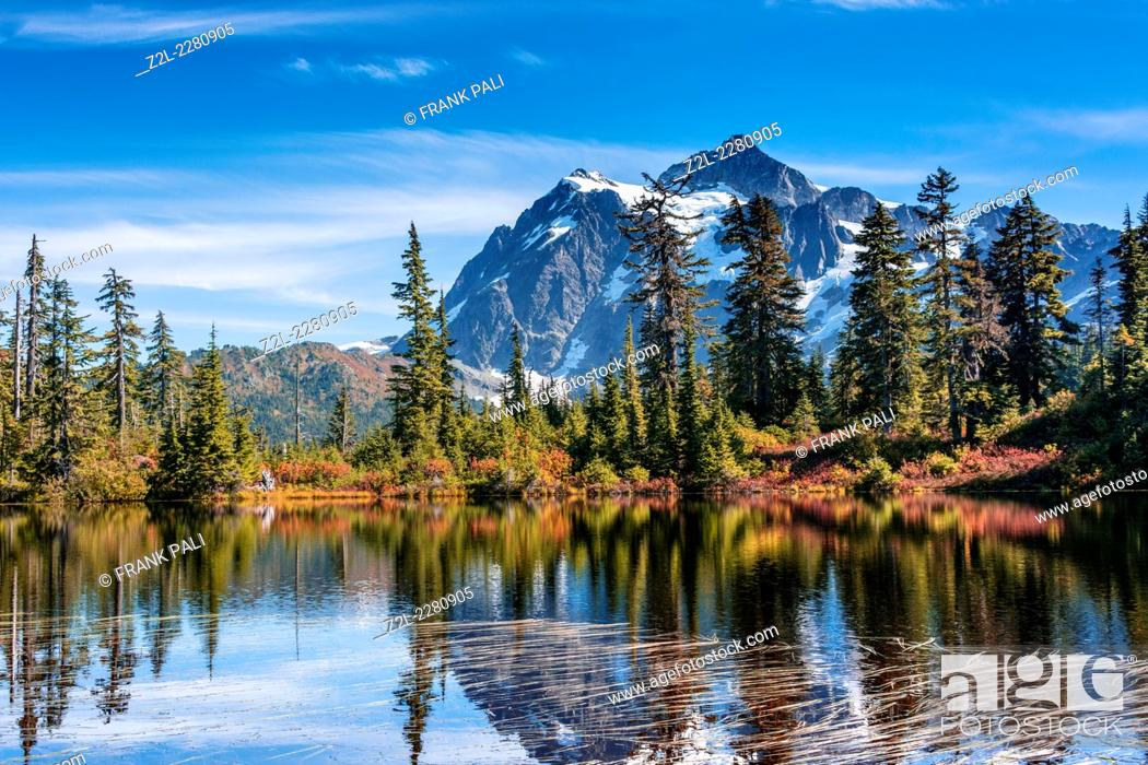 Stock Photo: Reflection of Mount Shuksan in Picture Lake, Mt. Baker-Snoqualmie National Forest, Washington, United States of America.
