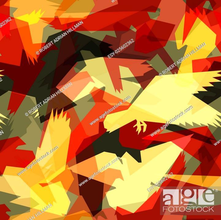 Stock Vector: Editable vector seamless tile of abstract flying birds.