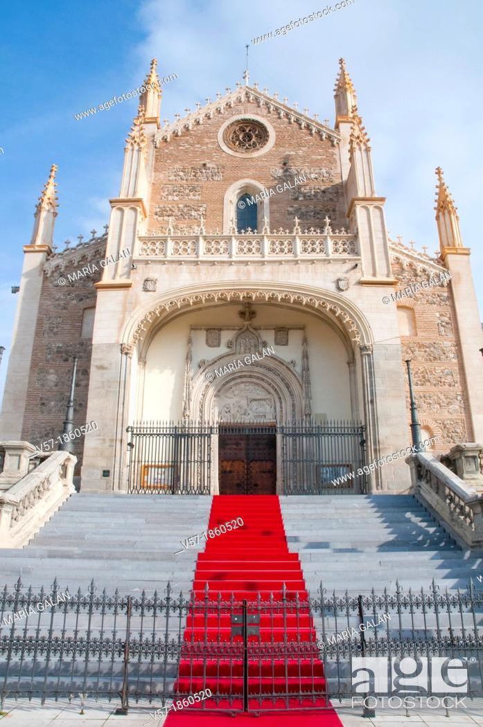 Stock Photo: Facade of San Jeronimo El Real church with red carpet. Madrid, Spain.
