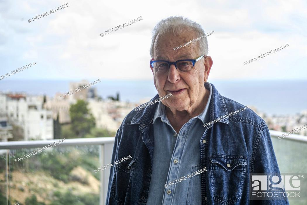 """Stock Photo: 20 January 2020, Israel, Haifa: Naftali Fürst, an 87-year-old Holocaust survivor, stands on a balcony in his home. Under the title """"""""Survivors."""