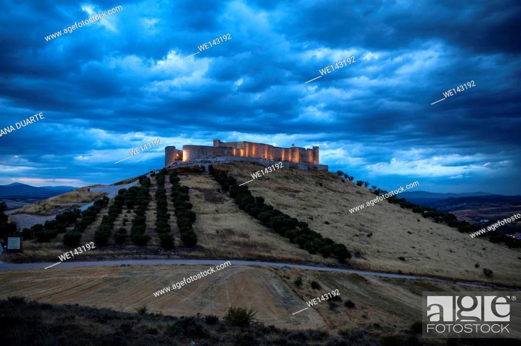 Stock Photo: Jadraque Castle is built on a pleateau on top of a high, steep hill. Jadraque, Guadalajara, Spain.