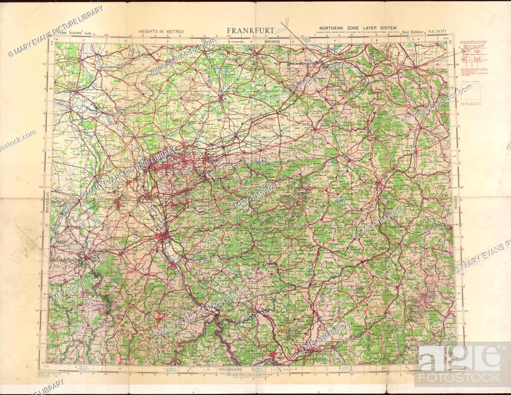 stock photo ordnance survey map of germany around frankfurt showing the location of cologne koln koblenz frankfurt and other towns and cities in the