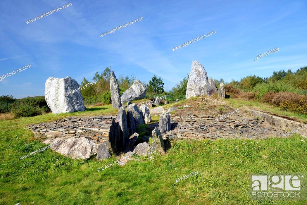 Stock Photo: Landes de Cojoux, Saint-Just, Brittany, France. The excavated prehistoric barrow passage grave dolmen of Croix Saint Pierre west.