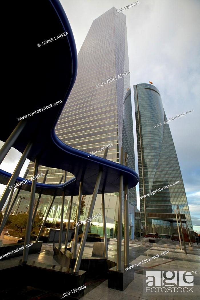 Stock Photo: Torre de Cristal and Torre Espacio, CTBA, Cuatro Torres Business Area, Madrid, Spain.