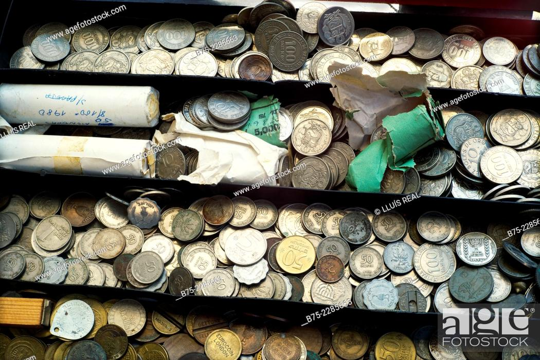 Stock Photo: Coins in old Jaffa flea market, Tel Aviv-Yafo, Israel.