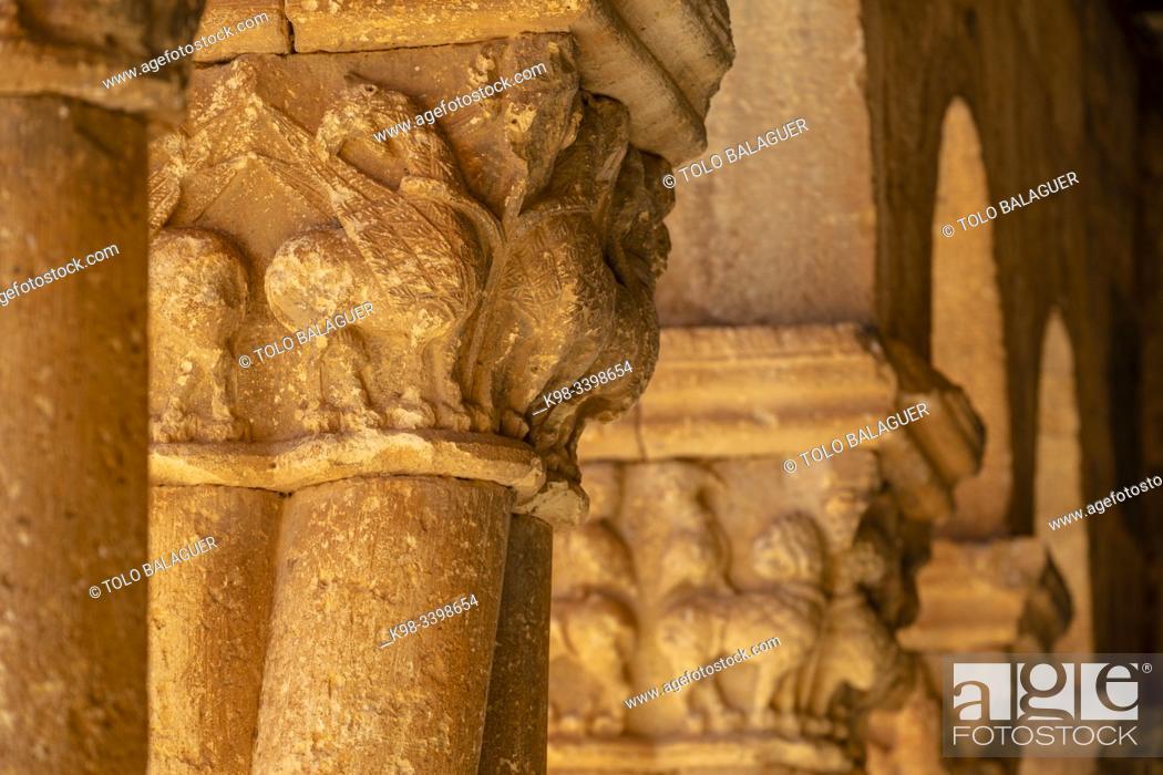 Stock Photo: Griffin, Iglesia de San Pedro Apóstol, Romanesque, 12th Century -declarada Monumento Histórico Artístico Nacional en 1935-, Caracena, Soria.