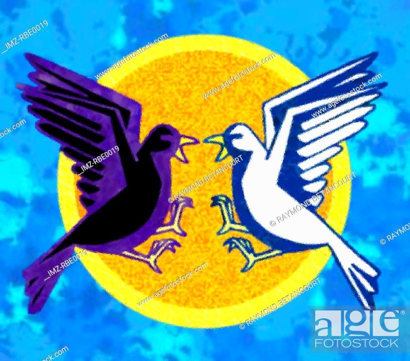 Stock Photo: A graphical representation of a dark dove vs  white dove.