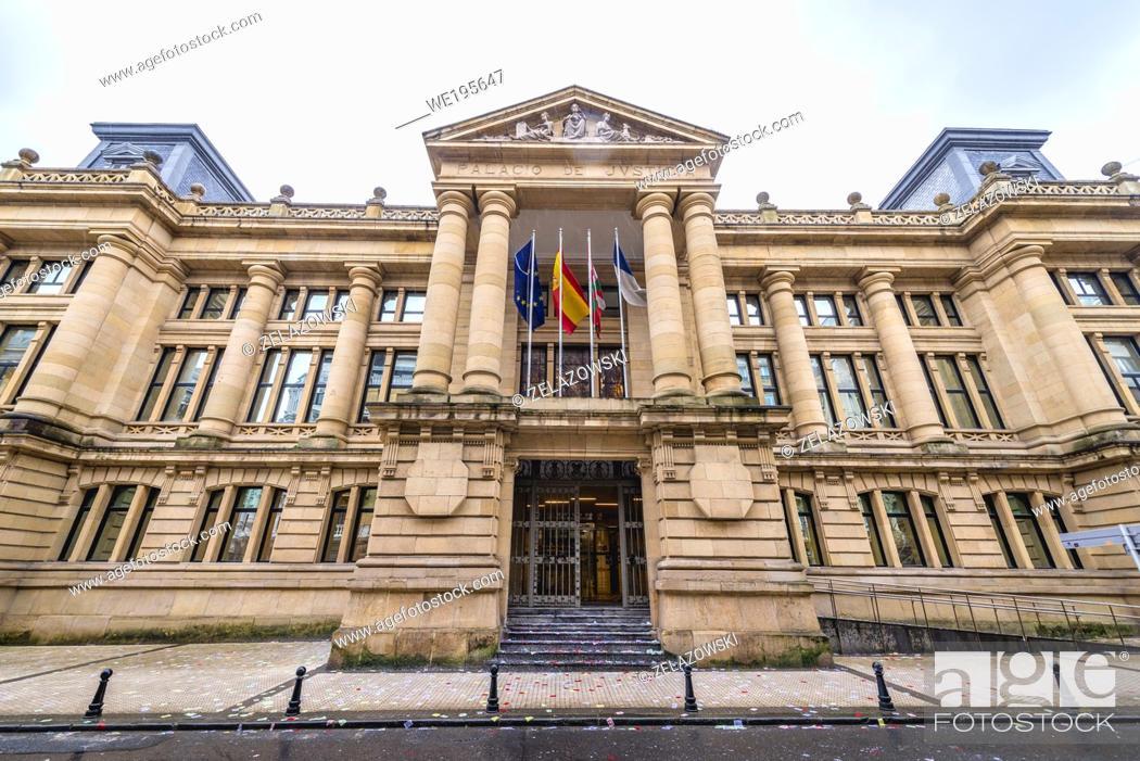 Stock Photo: Palacio de Justicia building in San Sebastian coastal city located in the Basque Autonomous Community, Spain.