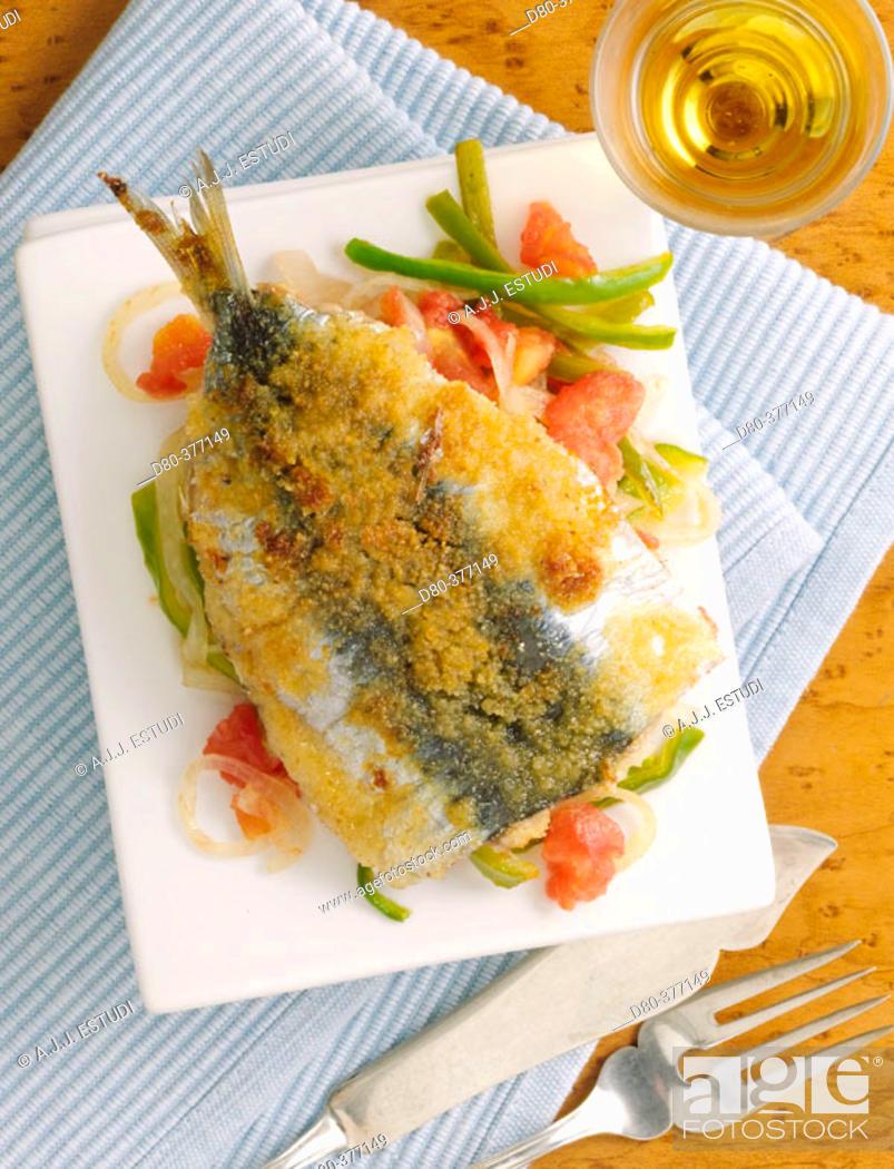 Stock Photo: Baked sardines.