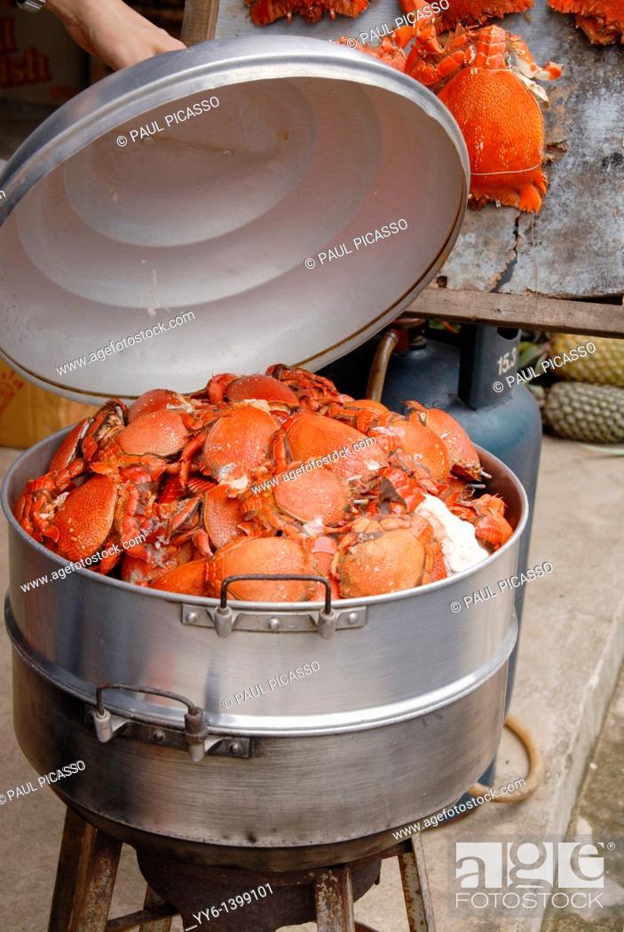 Stock Photo: freshly steamed guruda crabs, phang nga province, thailand.