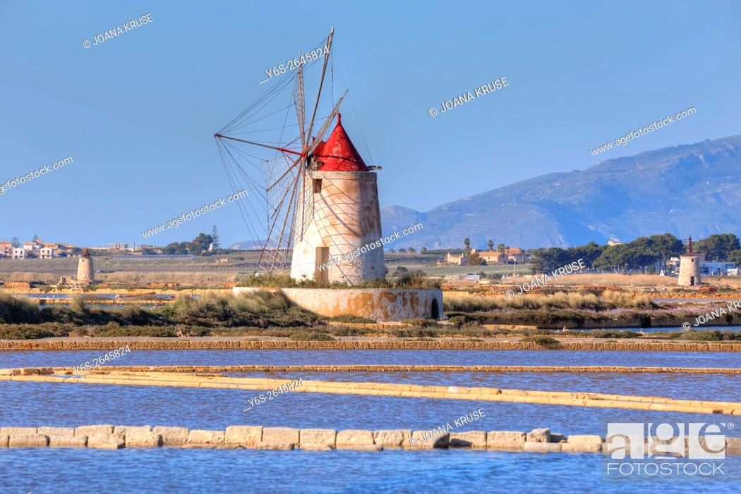 Stock Photo: Salt Mills, Marsala, Mozia, Sicily, Italy.