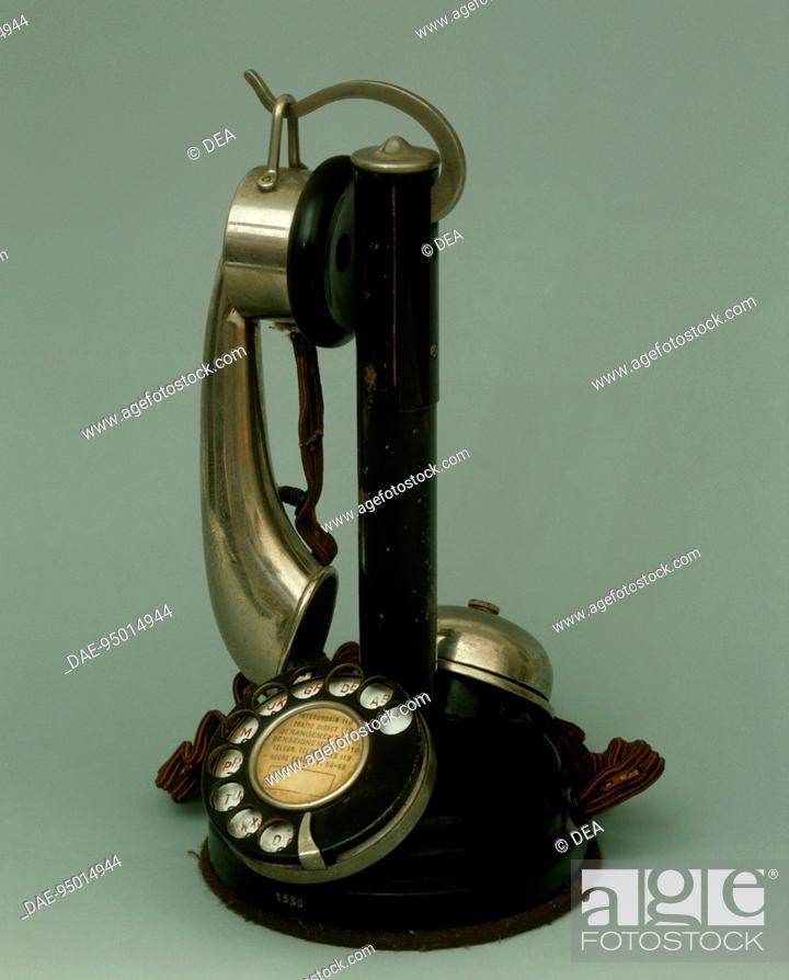 Stock Photo: France, 20th century - Micro telephone with receiver, circa 1920.  Private Collection.
