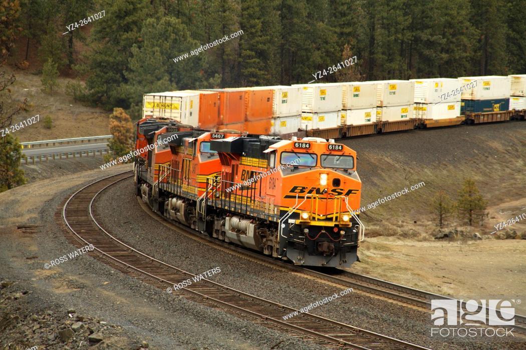Stock Photo: BNSF stack train at Scribner Siding, Marshall, Washington, USA.