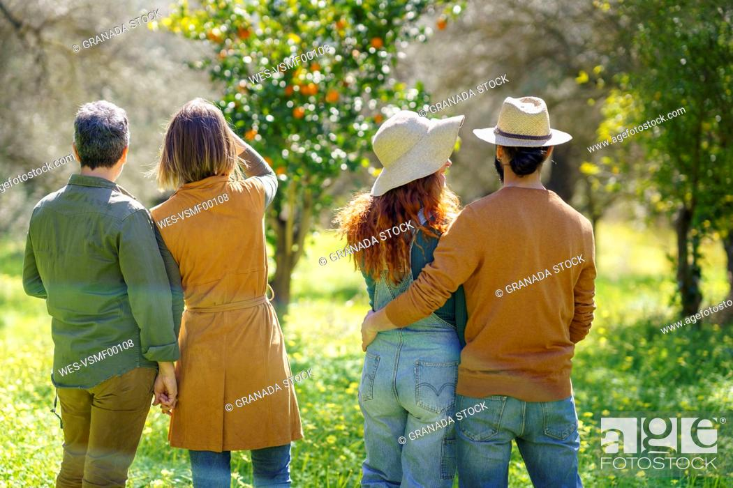 Stock Photo: Rear view of group of friends looking at the landscape in the countryside.
