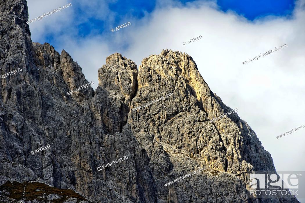 Photo de stock: Peaks Rotwandspitzen, Sesto, Sexten Dolomites, South Tyrol, Trentino-Alto Adige, Italy.