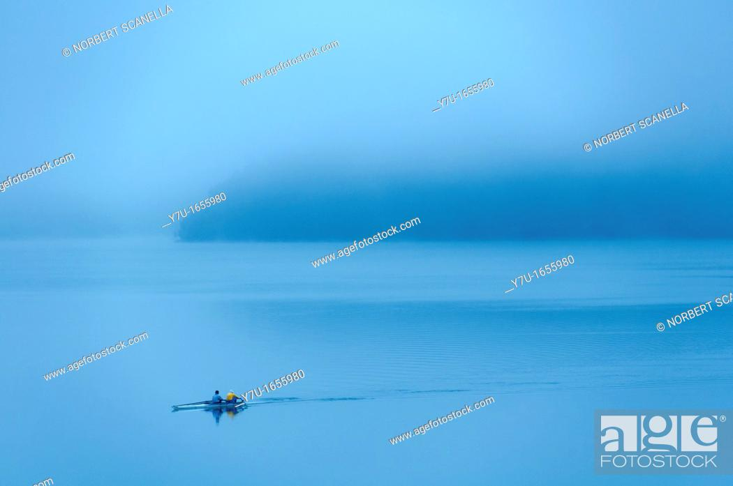 Stock Photo: Europe, France, Var 83, Lake Saint Cassien, rowing in the early morning.