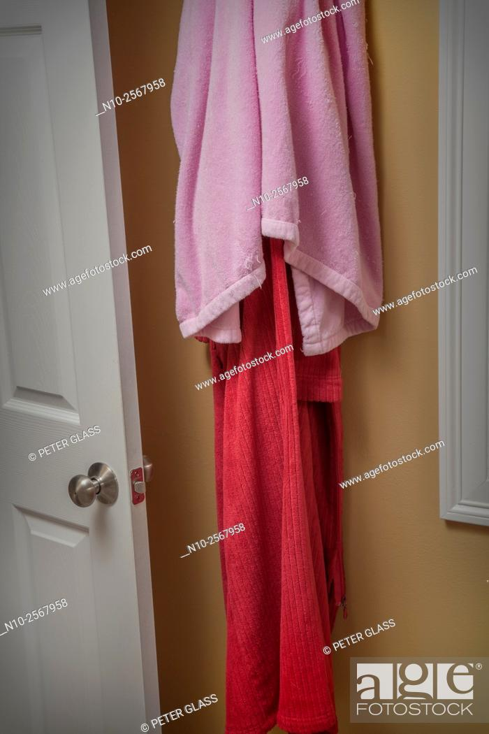 Stock Photo: Towels hanging in the bathroom.