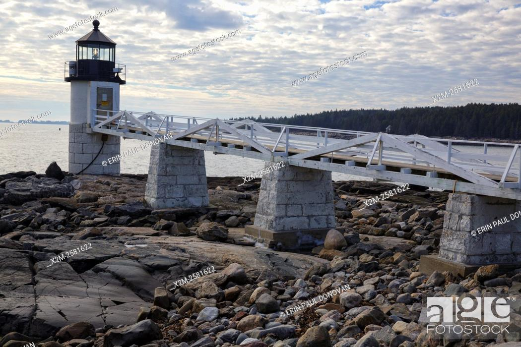 Stock Photo: Marshall Point Lighthouse, established in 1832, in Port Clyde, Maine USA.