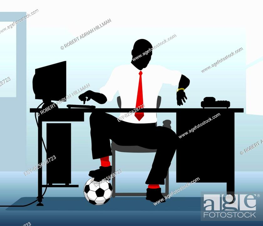Stock Vector: Editable vector illustration of an office worker with a football looking at his watch.