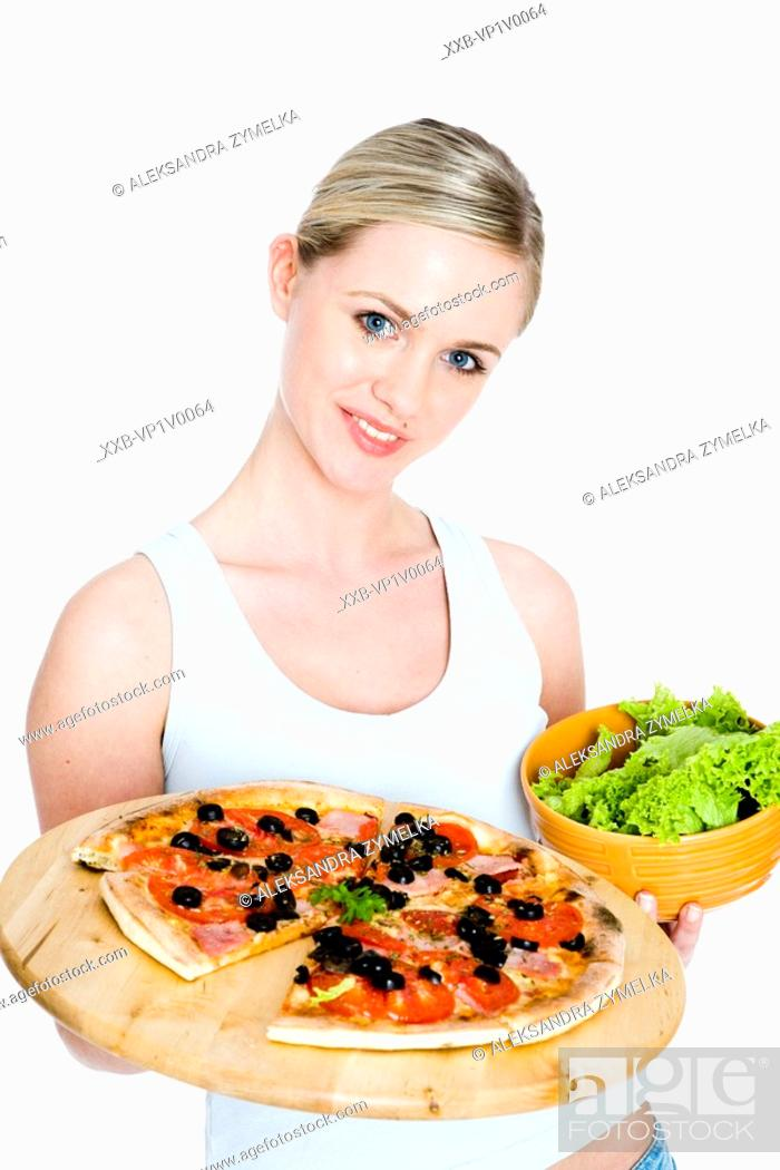 Stock Photo: young woman with pizza.