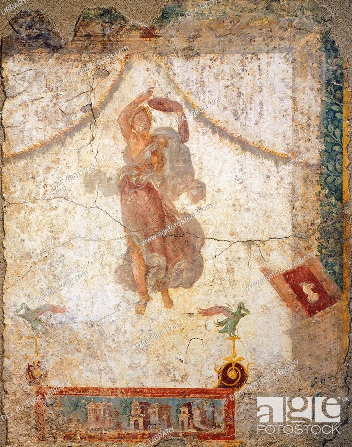 Stock Photo: Painting in the Fourth Pompeian Style depicting a flying Maenad with a tambourine, 10x113 cm. Roman Civilization, 1st Century.