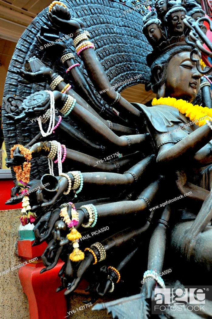 Stock Photo: kuan yin, goddess of good , the asian goddess of compassion, Chinatown temple, Bangkok, thailand.