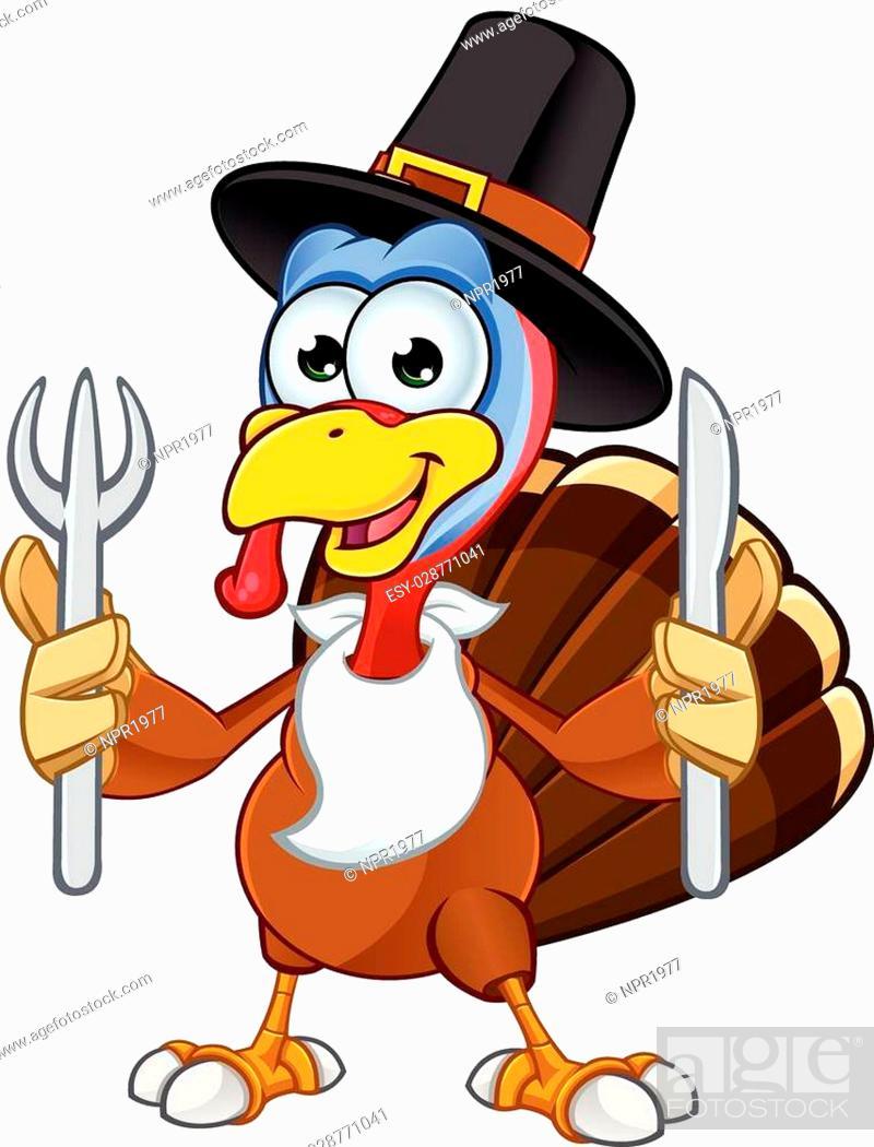 Stock Vector: A cartoon illustration of a Thanksgiving Turkey character.